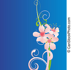beautiful pink flowers on blue background