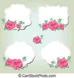 beautiful pink flowers ,roses, on a blue