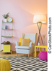 Beautiful pink home interior - Cozy room in light pink with ...
