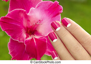 Beautiful pink manicure.