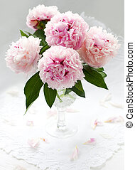beautiful pink peony - Vase of pink peony on a white...