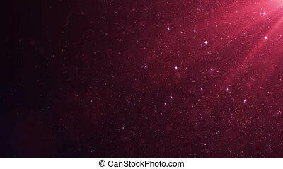 Beautiful Pink Red Floating Dust Particles with Flare on Black Background in Slow Motion. Looped 3d Animation of Dynamic Wind Particles In The Air With Bokeh. 4k Ultra HD 3840x2160