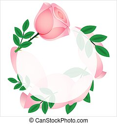 Beautiful pink rose card, vector