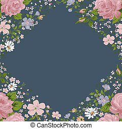 Beautiful  pink roses frame on blue. Vector
