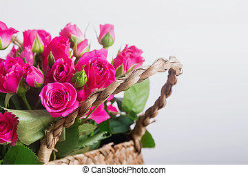 Beautiful pink roses in the basket
