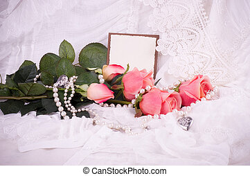 Beautiful pink roses with banner ad