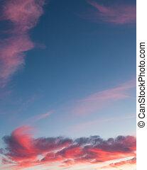 Beautiful pink sunset clouds