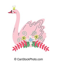 Beautiful Pink Swan Princess with Golden Crown and Flowers, Lovely Fairytale Bird Vector Illustration