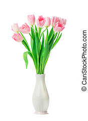 Beautiful Pink tulips flowers in vase isolated on white background.