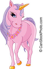 Beautiful Pink Unicorn - Illustration of walking beautiful...