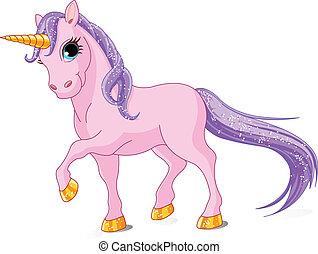 Beautiful Pink Unicorn - Vector Illustration of walking cute...