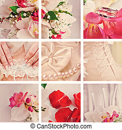 beautiful pink wedding collage style