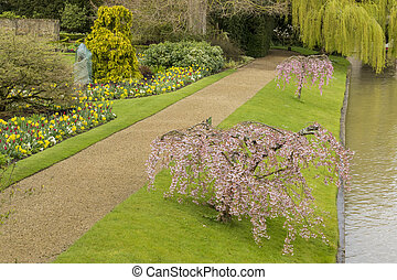 Beautiful places around the famous Clare College at Cambridge University, United Kingdom