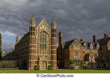 Beautiful places around the famous Selwyn College at Cambridge University, United Kingdom