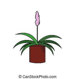 Beautiful plant with pink flower in pot vector illustration