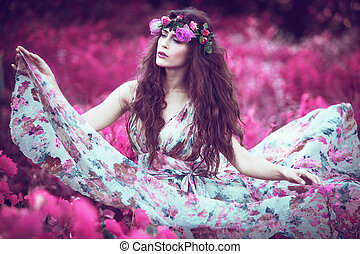 fairy - beautiful playful fairy woman in fluttering floral...