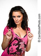 Beautiful playful Woman in pink dress