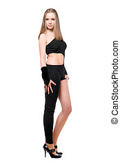 Beautiful playful young woman in skintight black costume