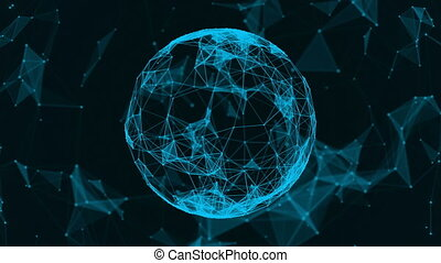 Beautiful plexus. Futuristic world. The sphere consists of triangles, points and lines. Abstract background for business presentations. Loop animation