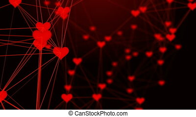 Beautiful plexus of hearts. Valentine's Day abstract background with hearts.