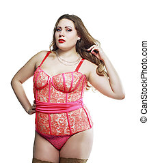 plus size model - beautiful plus size model wearing...