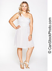 beautiful plus size woman - full-length portrait of...