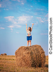 Beautiful Plus Size Young Woman Girl Is Standing On A Haystack W