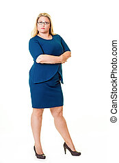 Beautiful plus sized woman in blue dress with arms crossed...