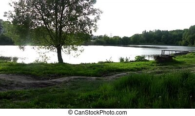 beautiful pond in the woods,green trees,birds