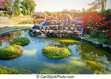 beautiful pond water garden landscape pond design small waterfall stone with plant