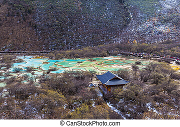 Beautiful ponds in Huanglong National park of Sichuan China