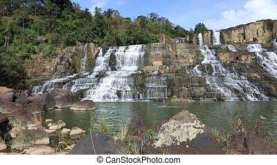 Beautiful Pongour waterfall in Vietnam - Panoramic video...