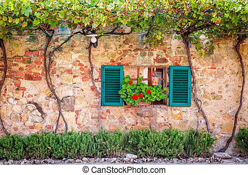Beautiful porch decorated with flowers in italy