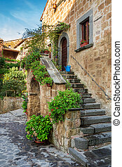 Beautiful porch in the old town in Italy