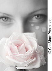 the rose - beautiful portrait in black and white of a girl...