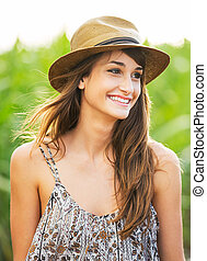 Beautiful portrait of a carefree happy girl with amazing...