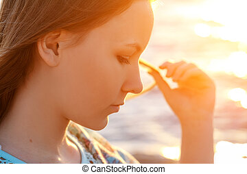 beautiful portrait of a girl on a Sunny day