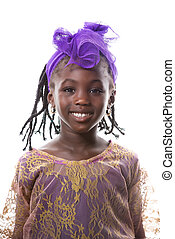 Beautiful portrait of a happy little girl smiling.Isolated
