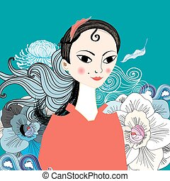beautiful portrait of east girl - bright portrait of...