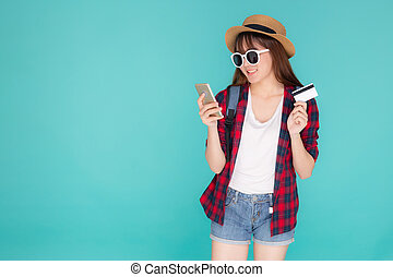 Beautiful Portrait Young Asian Woman Wear Travel Summer Fashion Holding Credit Card And Smart Mobile Phone In Summer Asia