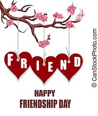 Beautiful postcard for friendship day. Hearts of friends. Sakura branch. illustration