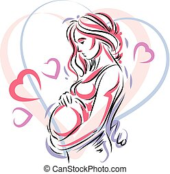 Beautiful pregnant female body silhouette surrounded by...