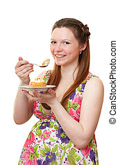 Beautiful pregnant girl with cake.