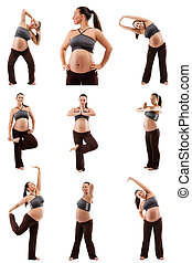 Beautiful pregnant woman doing exercises