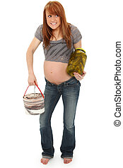 Beautiful pregnant woman in Pregnancy Pickles and Ice Cream concept over white. Barefoot, casual.