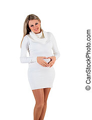 Beautiful pregnant woman - isolated over a white background