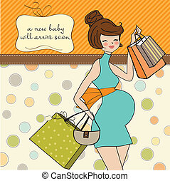 Beautiful pregnant woman on shopping for her new baby. ...