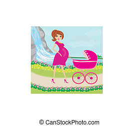 beautiful pregnant woman pushing a stroller with her daughter