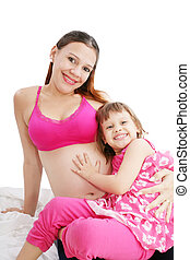 Beautiful pregnant woman with her daughter