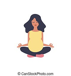 Beautiful pregnant woman. Yoga illustration. Sport exercise, fitness, workout. Health care. Girl sport. Happy maternity. Pregnancy vector character.